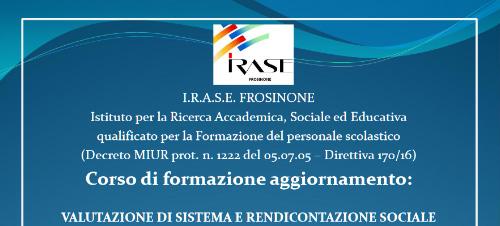Corso di formazione aggiornamento: VALUTAZIONE DI SISTEMA E RENDICONTAZIONE SOCIALE