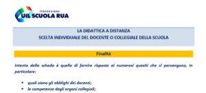 SCHEDA / DIDATTICA A DISTANZA: SCELTA INDIVIDUALE DEL DOCENTE O COLLEGIALE DELLA SCUOLA