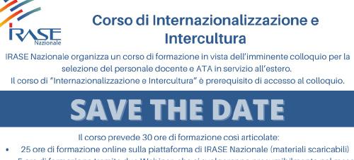 SAVE THE DATE: CORSO DI INTERNAZIONALIZZAZIONE E INTERCULTURA